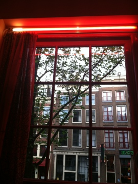 View of the Street from Inside the Red Light Museum